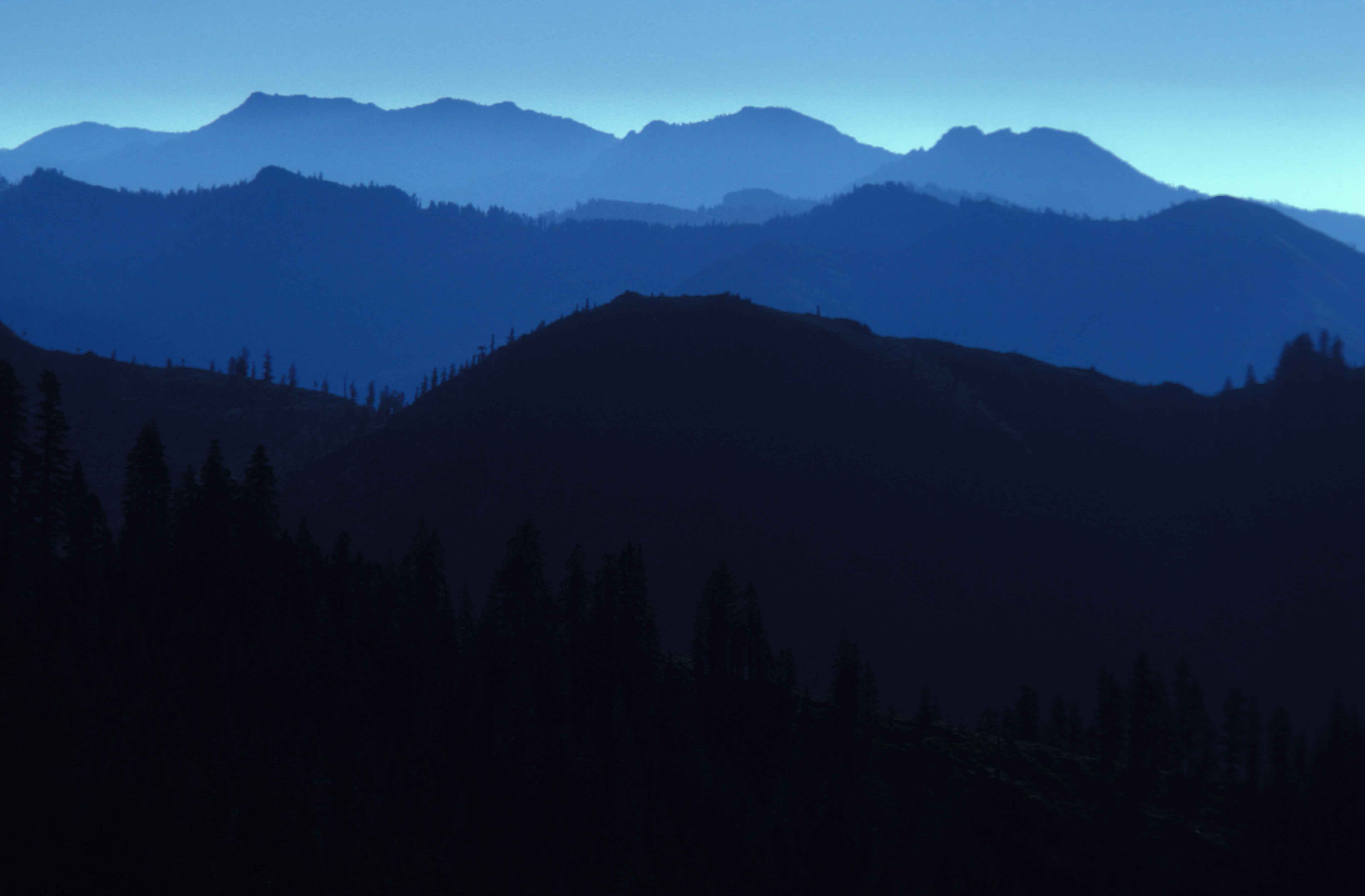 File view of mountains in silhouette in the marble Mountain silhouette