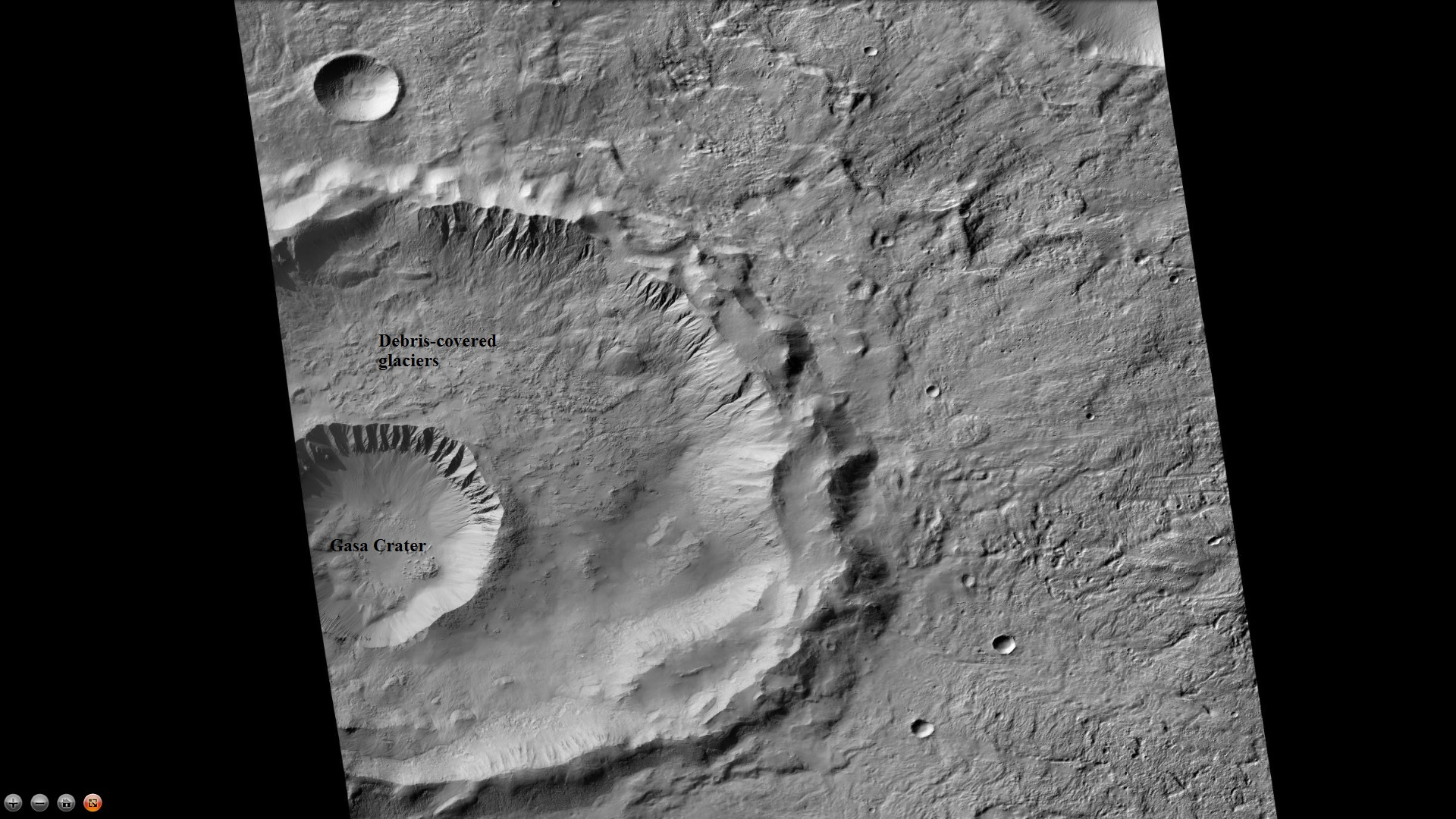 Gasa Crater, as seen by CTX Note: Gasa Crater is the smaller crater. It is believed the impact that created Gasa occurred in a debris-covered glacier.