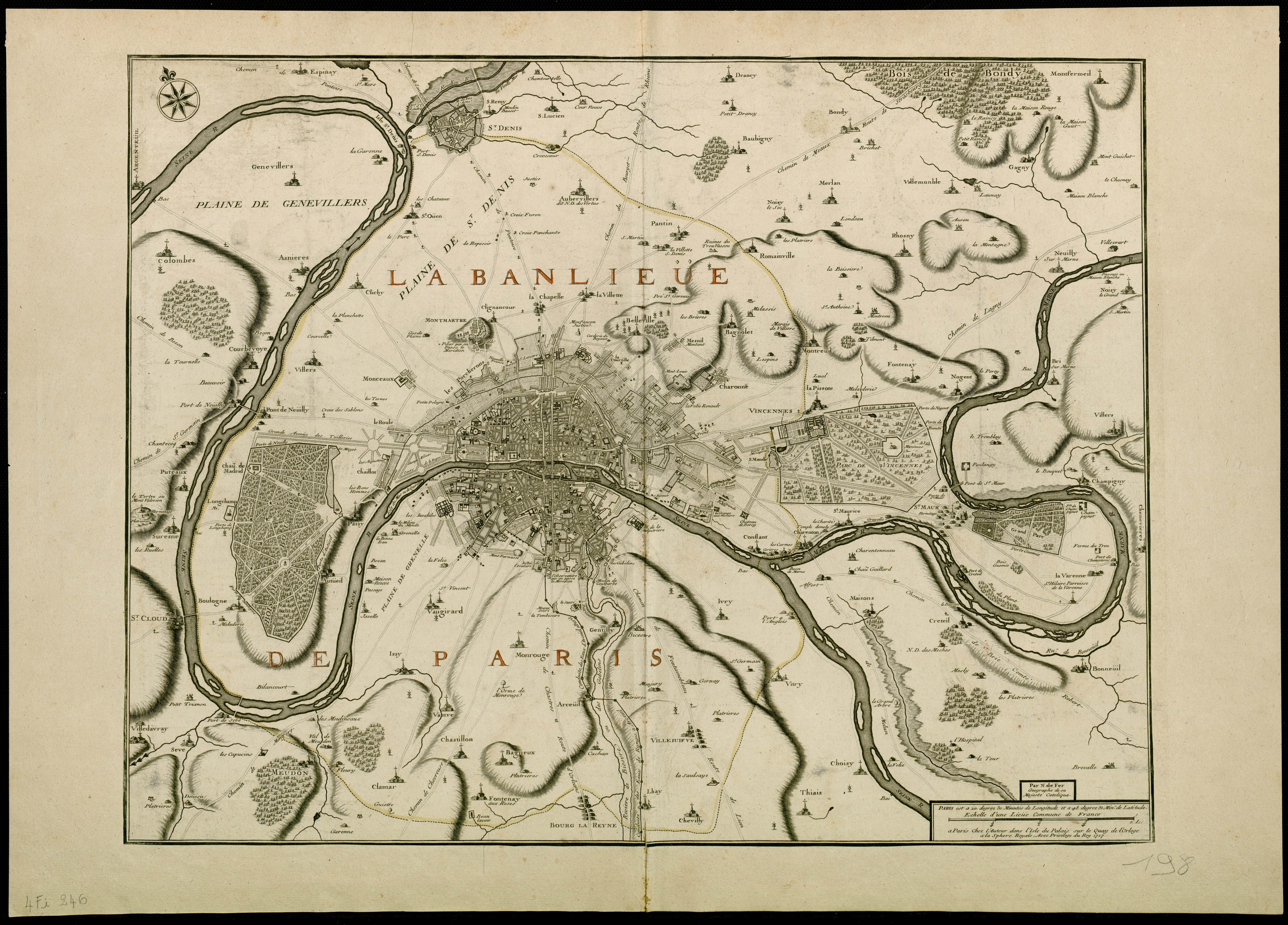 File:1717 – Carte de la Banlieue de Paris par Nicolas De Fer.jpg
