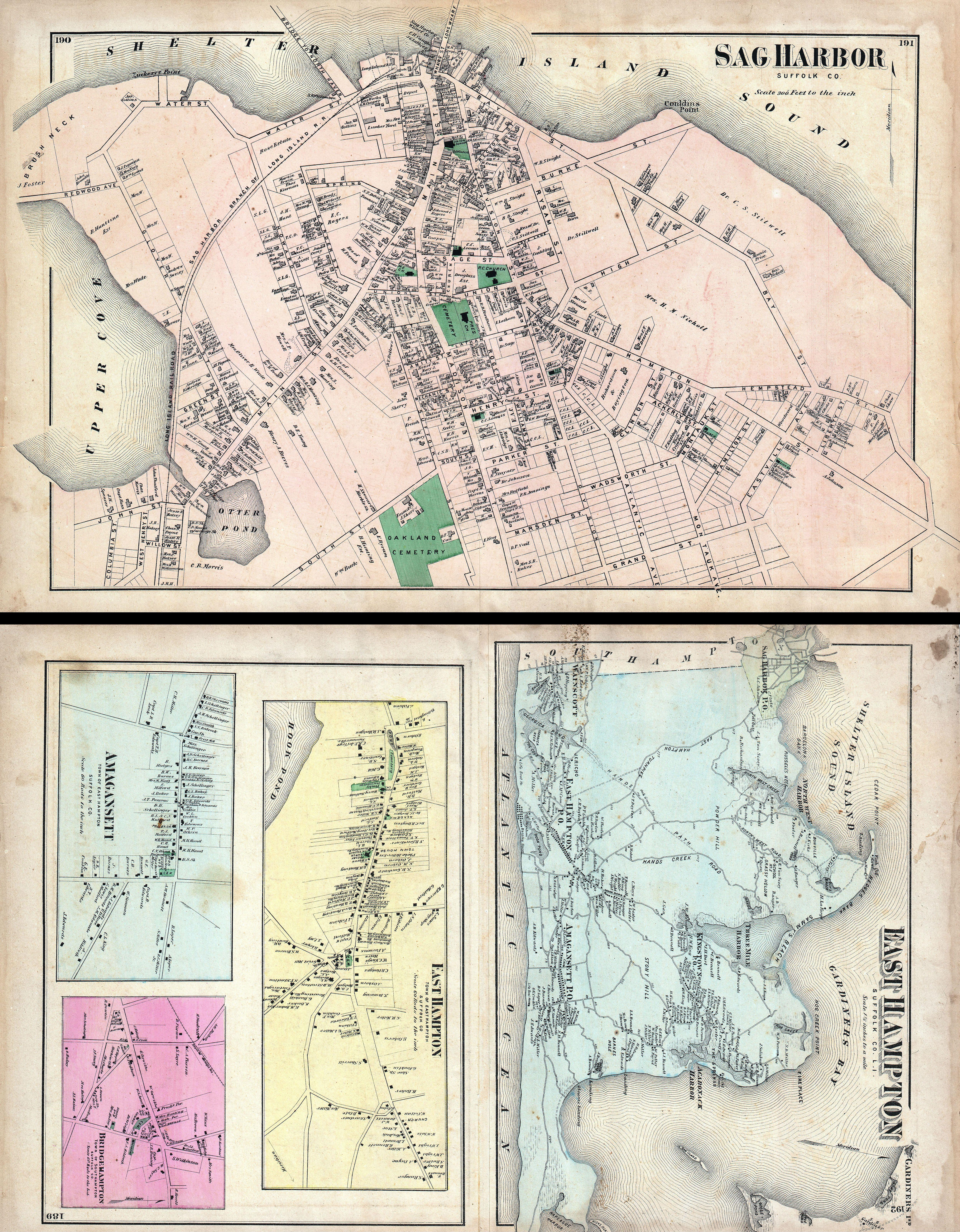 File1873 Beers Map of East Hampton and Sag Harbor Long Island