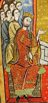 Alfonso II de Aragón. Detalle de la portada del Liber feudorum maior (siglo XIII).