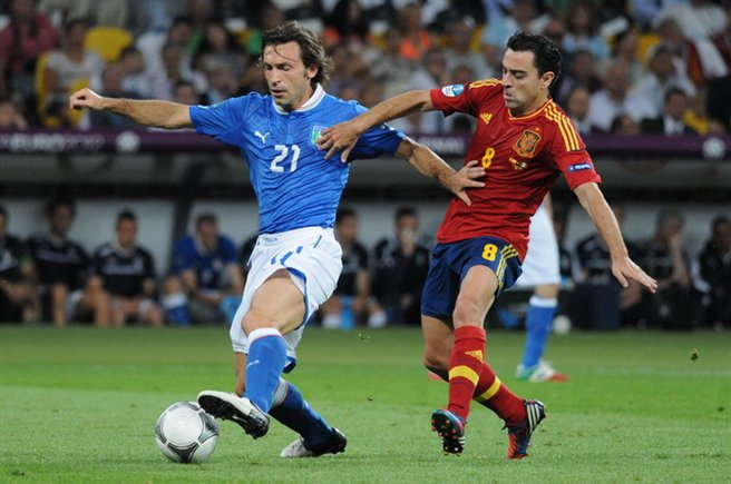 Andrea Pirlo and Xavi Hernández at Euro 2012 final Spain-Italy