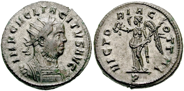 A Roman imperial coin of Marcus Claudius Tacitus, who ruled briefly from 275 to 276, follows the convention of obverse and reverse coin traditions. Antoninianus Tacitus-s3315-light.jpg