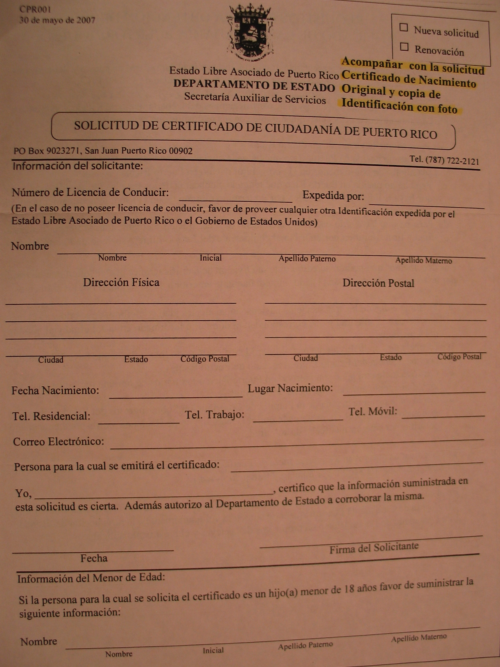 FileApplication Form for Certificate of Puerto Rican Citizenship – Citizenship Form
