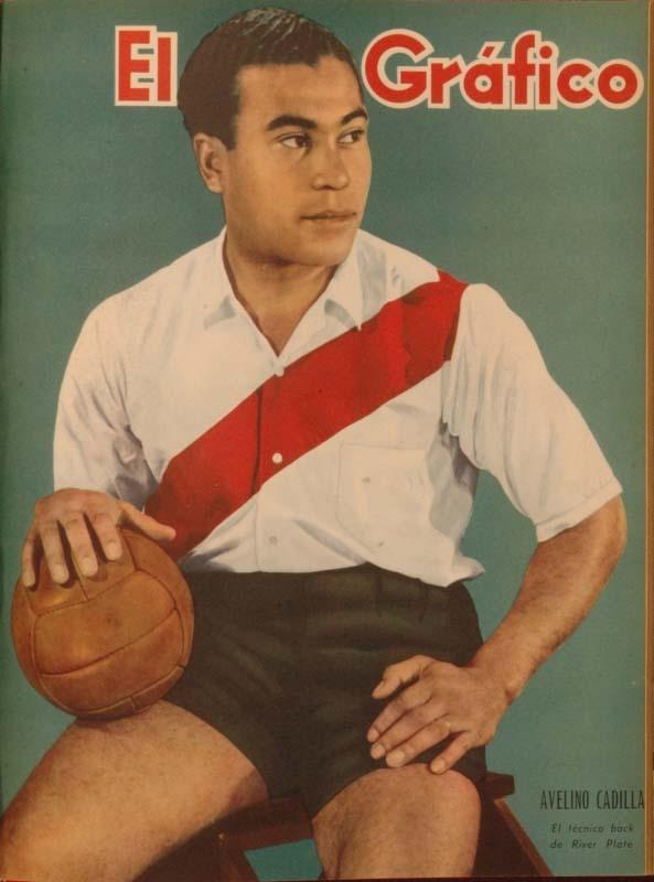 English: Uruguayan defender Avelino Cadilla wearing the River Plate jersey Español: El defensor uruguayo Avelino Cadilla con la camiseta de River Plate Italiano: