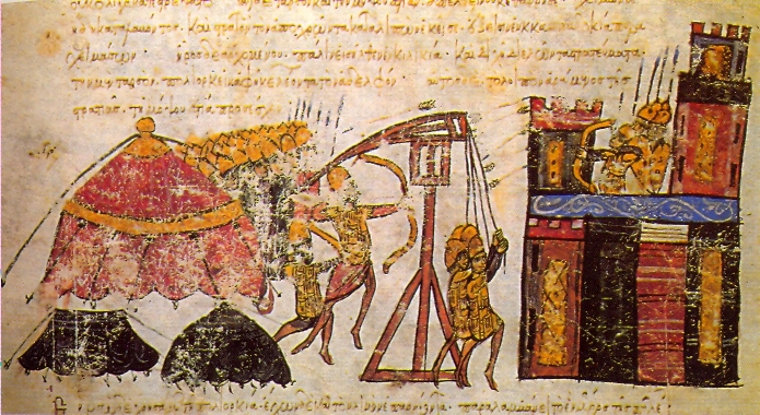 13th-century illustration for the Chronicle of John Skylitzes, depicting the Byzantines laying siege to a city.