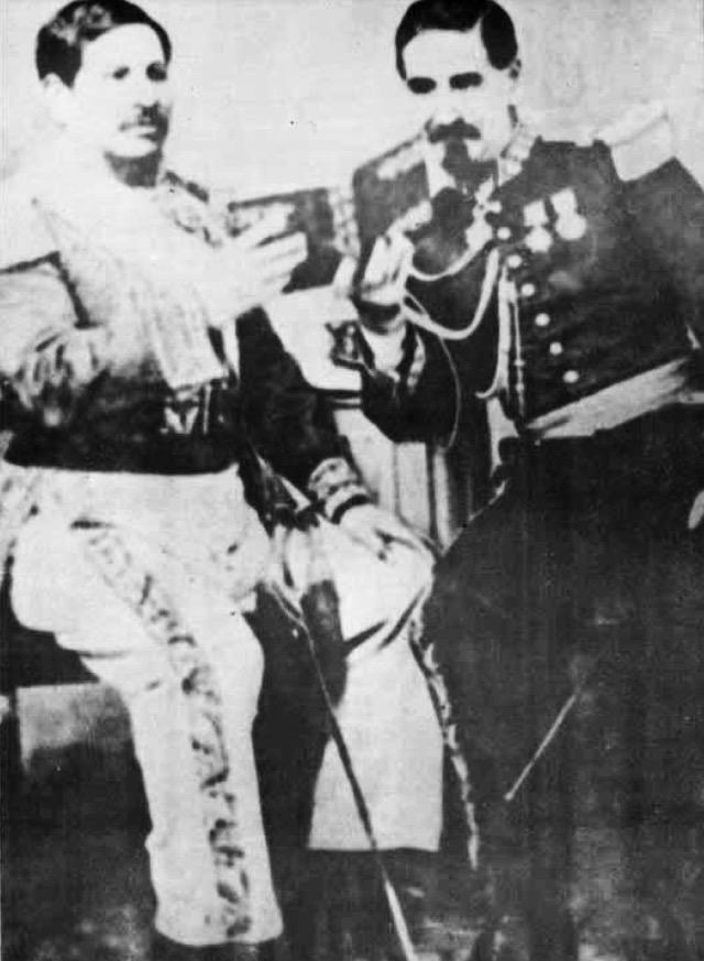 Capitán general Rafael Carrera y mariscal Zavala en 1860. Wikimedia Commons.