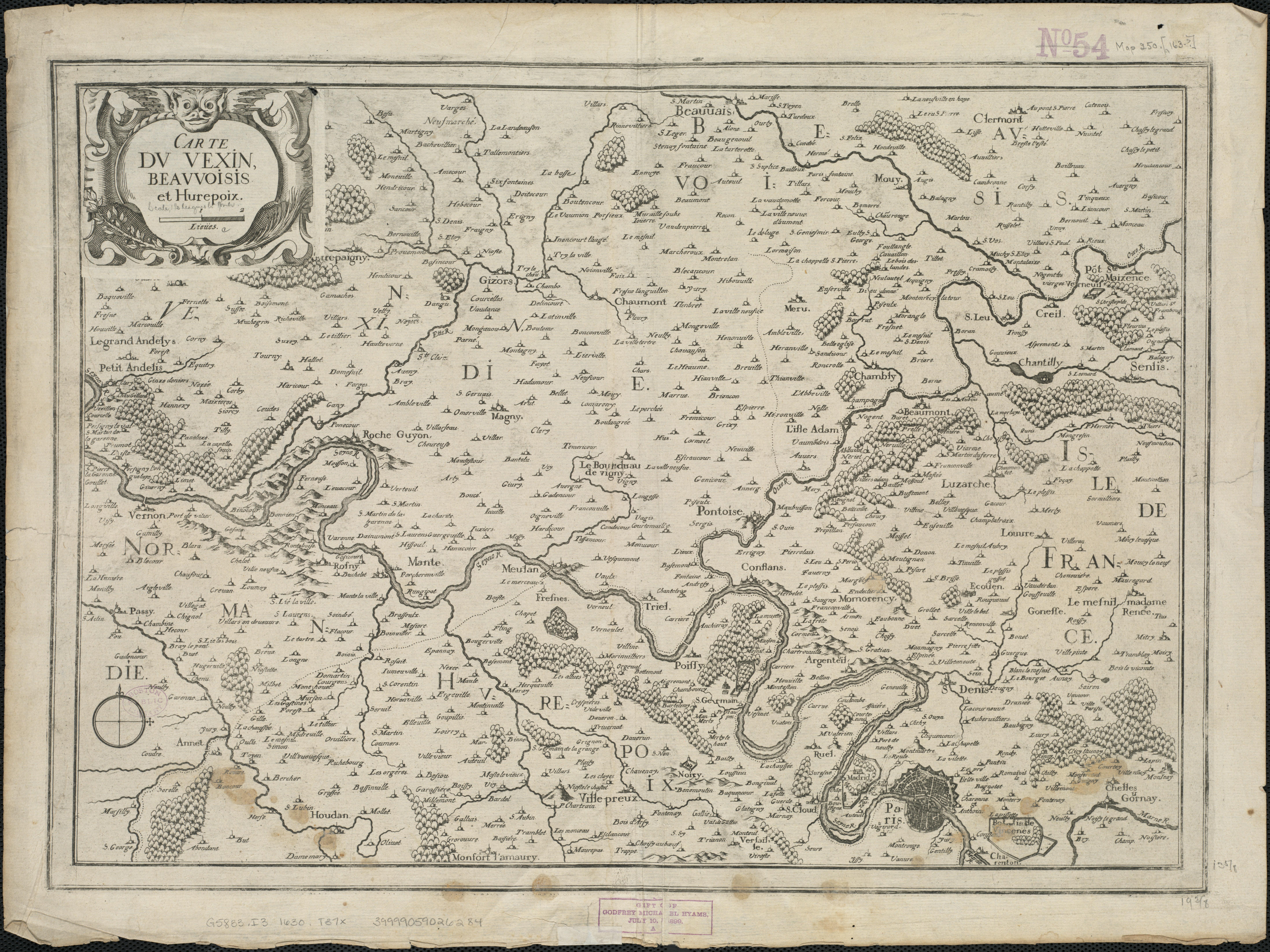 Carte du Vexin Beauvoisis et Hurepoix - 1634