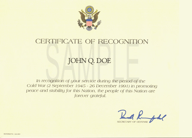 File:Cold War Certificate Sample  Certificate Of Recognition Samples