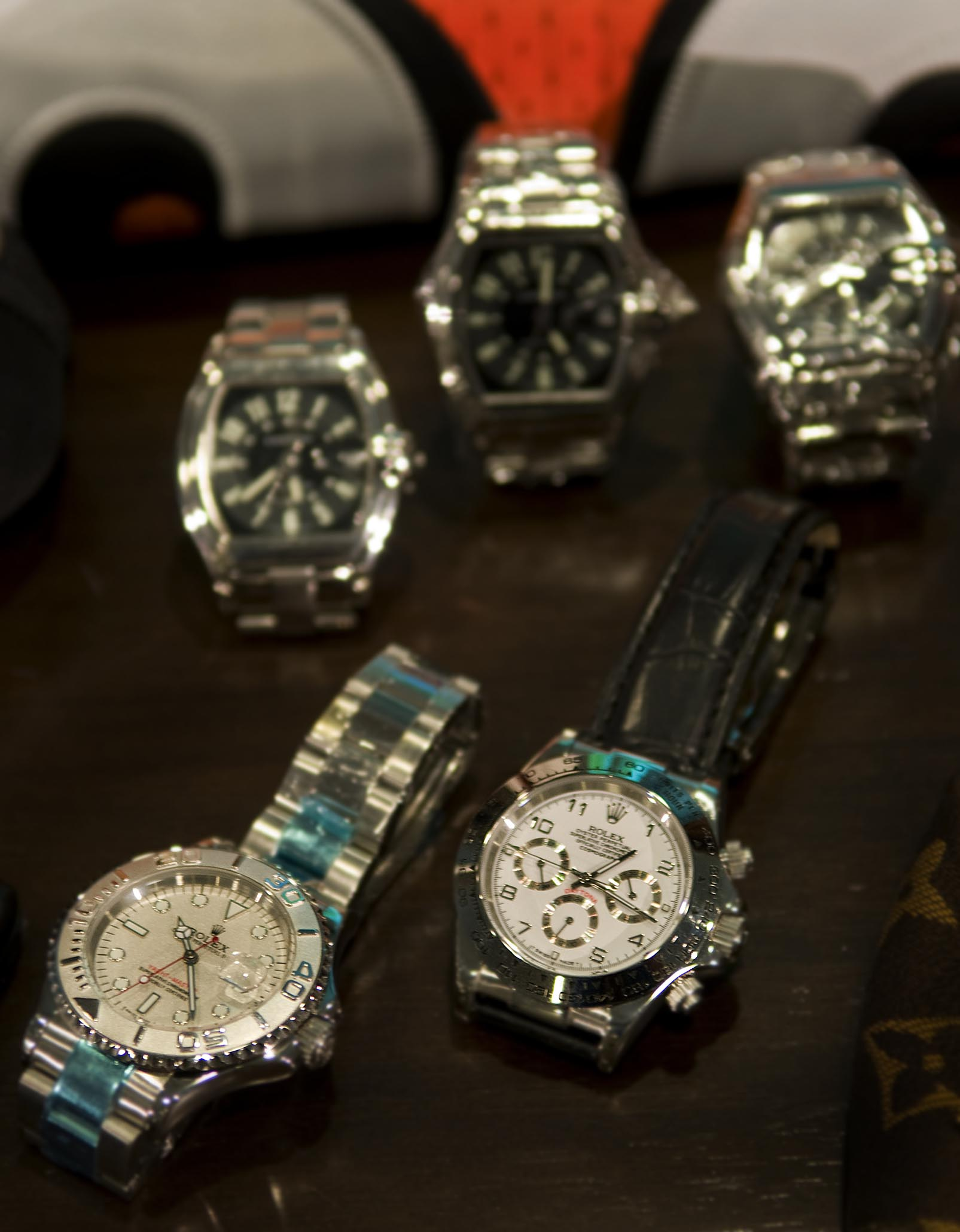 Counterfeit Rolex watches displayed at the National Intellectual Property Rights Coordination Center in Arlington, Virginia, USA (2008)