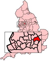 The Metropolitan Borough of Oldham shown within England.
