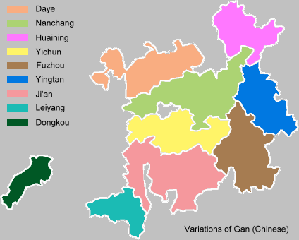 The main dialect areas of Gan in Mainland China.