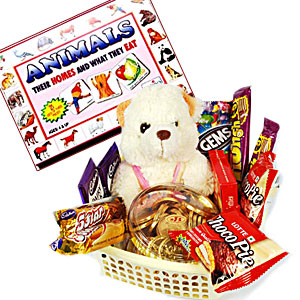 A soft-toy and chocolate gift hamper