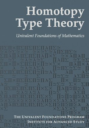 Cover of Homotopy Type Theory: Univalent Foundations of Mathematics. Hott book cover.png