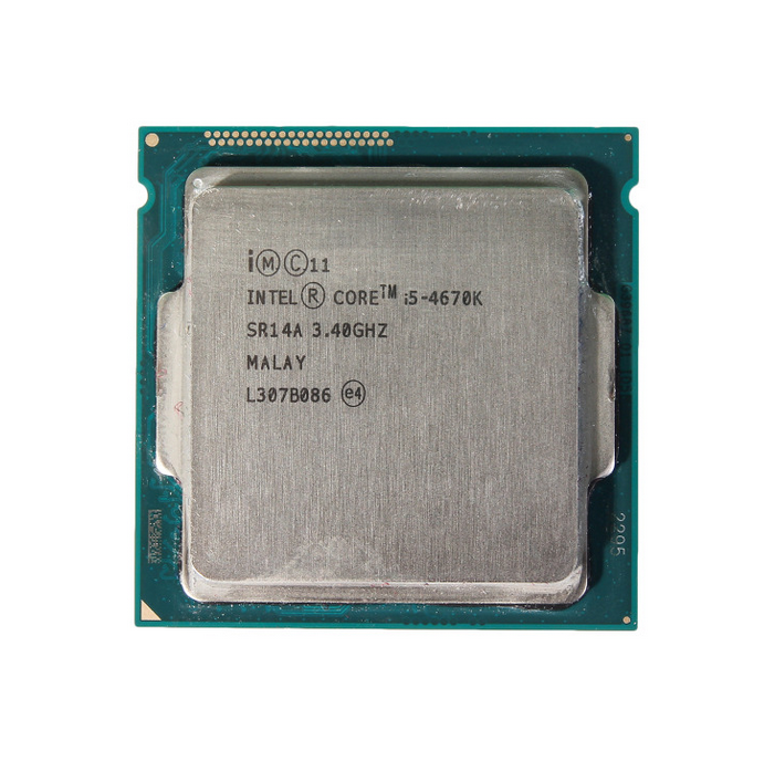 Close up front-on image of an Intel 4670K CPU