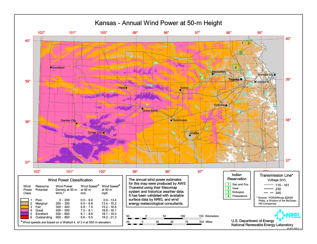 Wind Power In Kansas Wikipedia - Us wind energy map