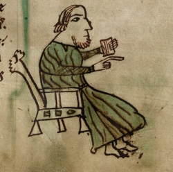 Illustration of a Welsh judge from the Laws of Hywel Dda Laws of Hywel Dda (f.4.r) Judge cropped.jpg