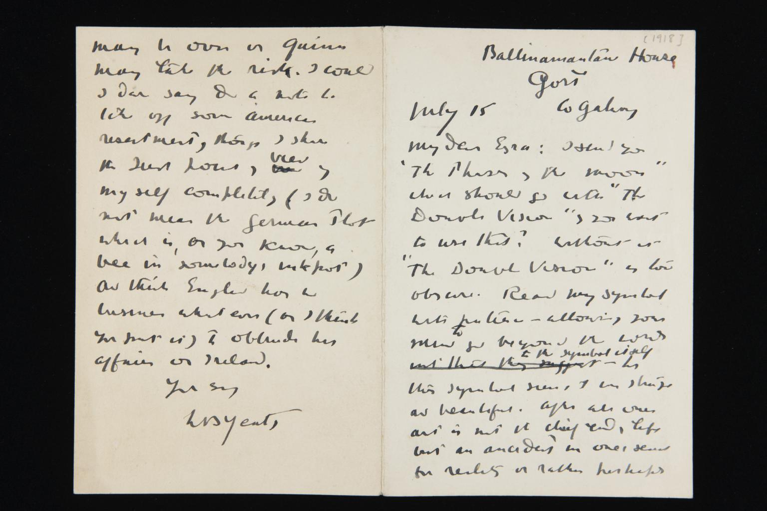 Letter from W B Yeats to Ezra Pound