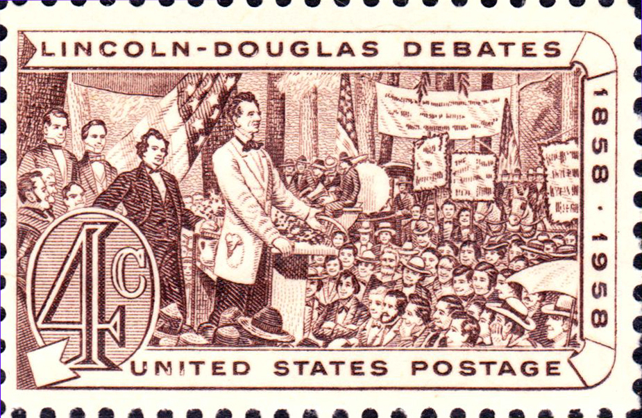 Lincoln Douglas Debates 1958 issue.  United States Post Office