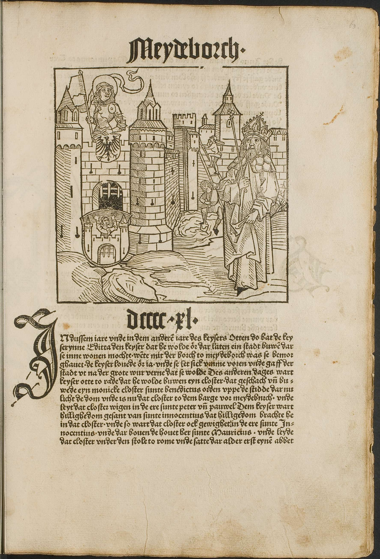 Page from the Chronicles of Saxony with a woodcut of Magdeburg Castle