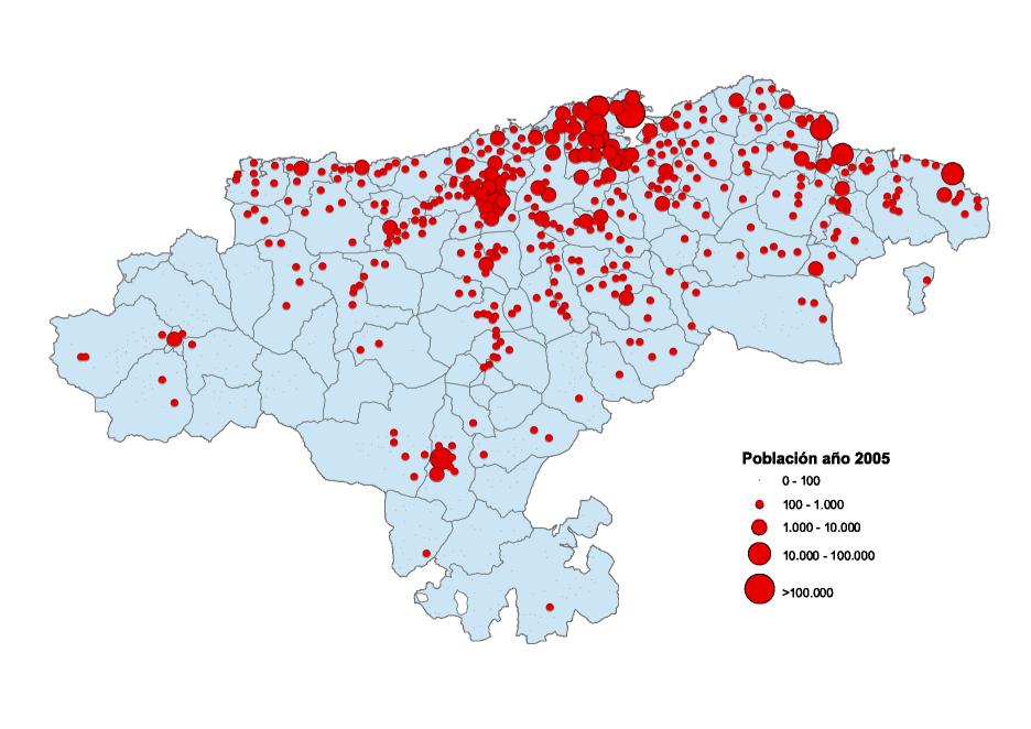 Mapa demográfico de Cantabria. Habitantes por núcleos de población en el año 2005.