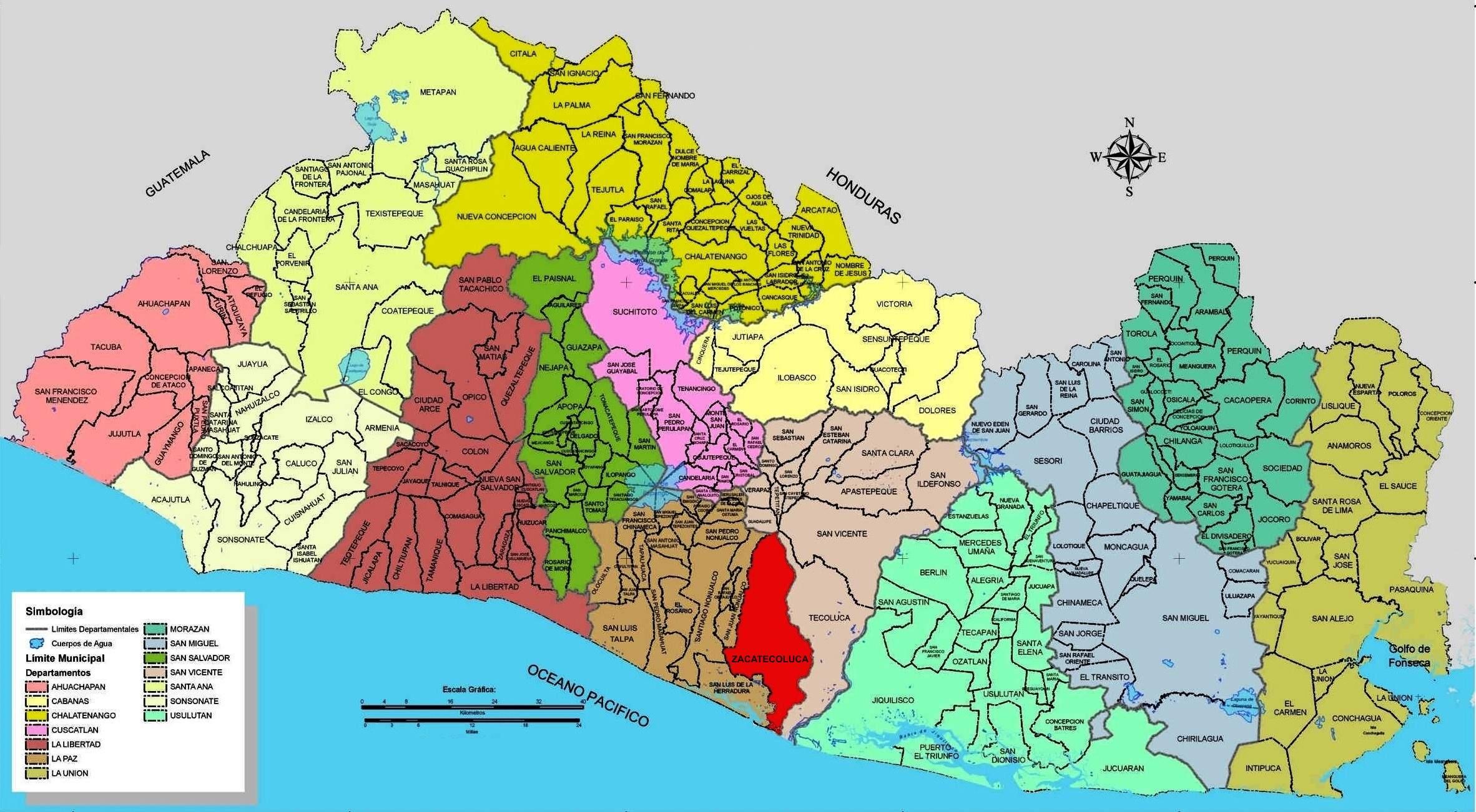 Archivomapa De División Política De El Salvador Con Zacatecoluca