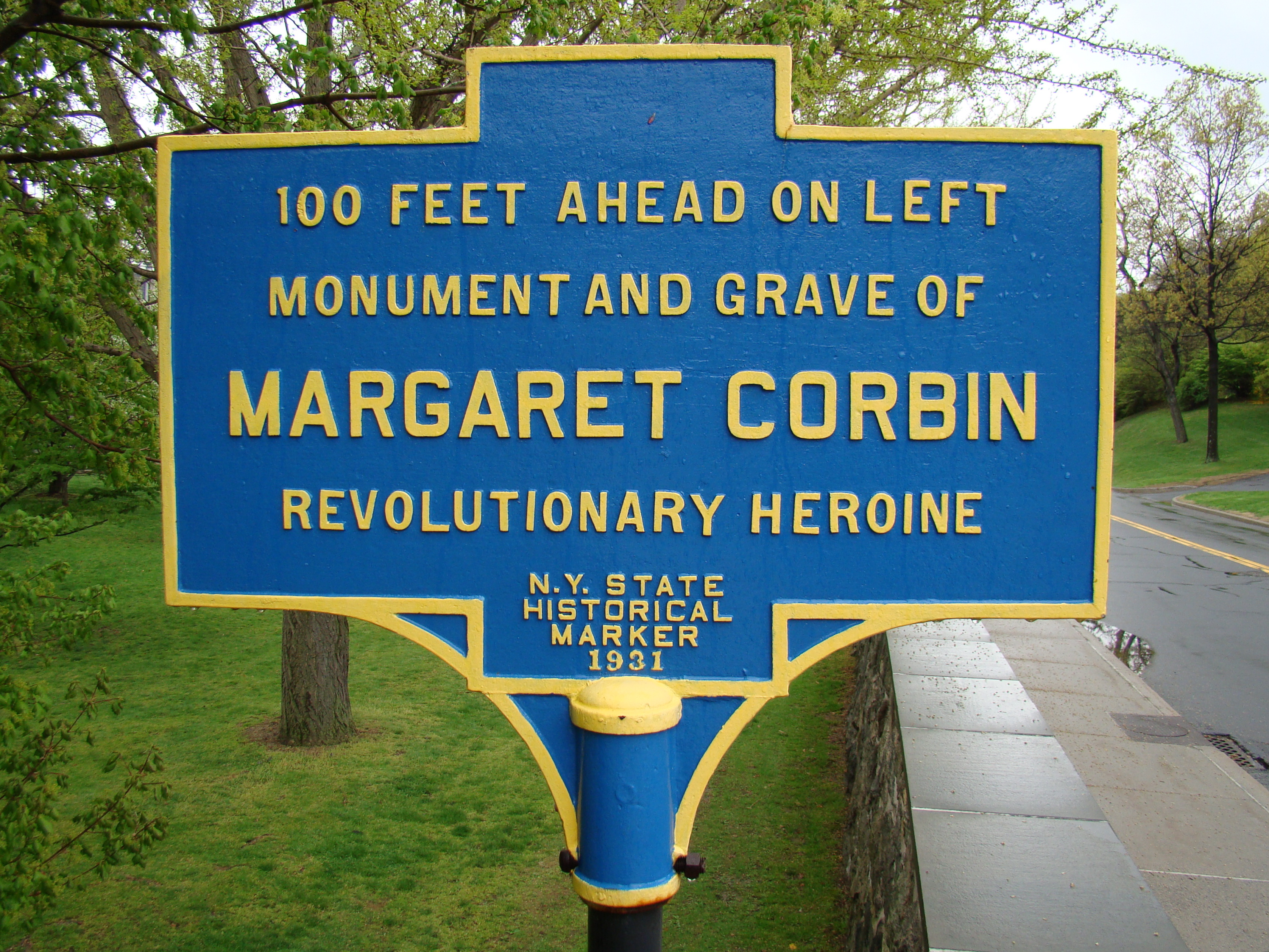 "Margaret ""Molly"" Corbin's gravesite historical marker, U. S. Military Academy Cemetery."