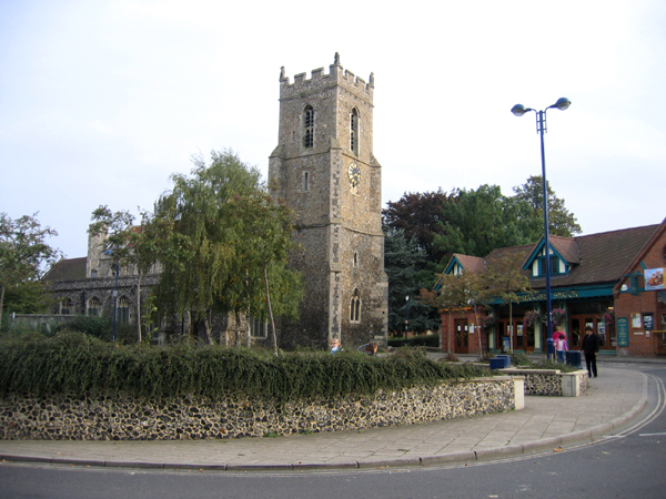 Market Hill and parish church, Haverhill, Suffolk
