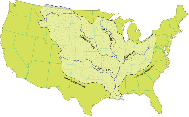 Filemississippi River Watershed Mapjpg Wikimedia Commons - Mississippi-river-on-us-map