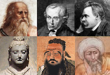 Left to right: Plato, Kant, Nietzsche, Buddha, Confucius, Shankara, Averroes