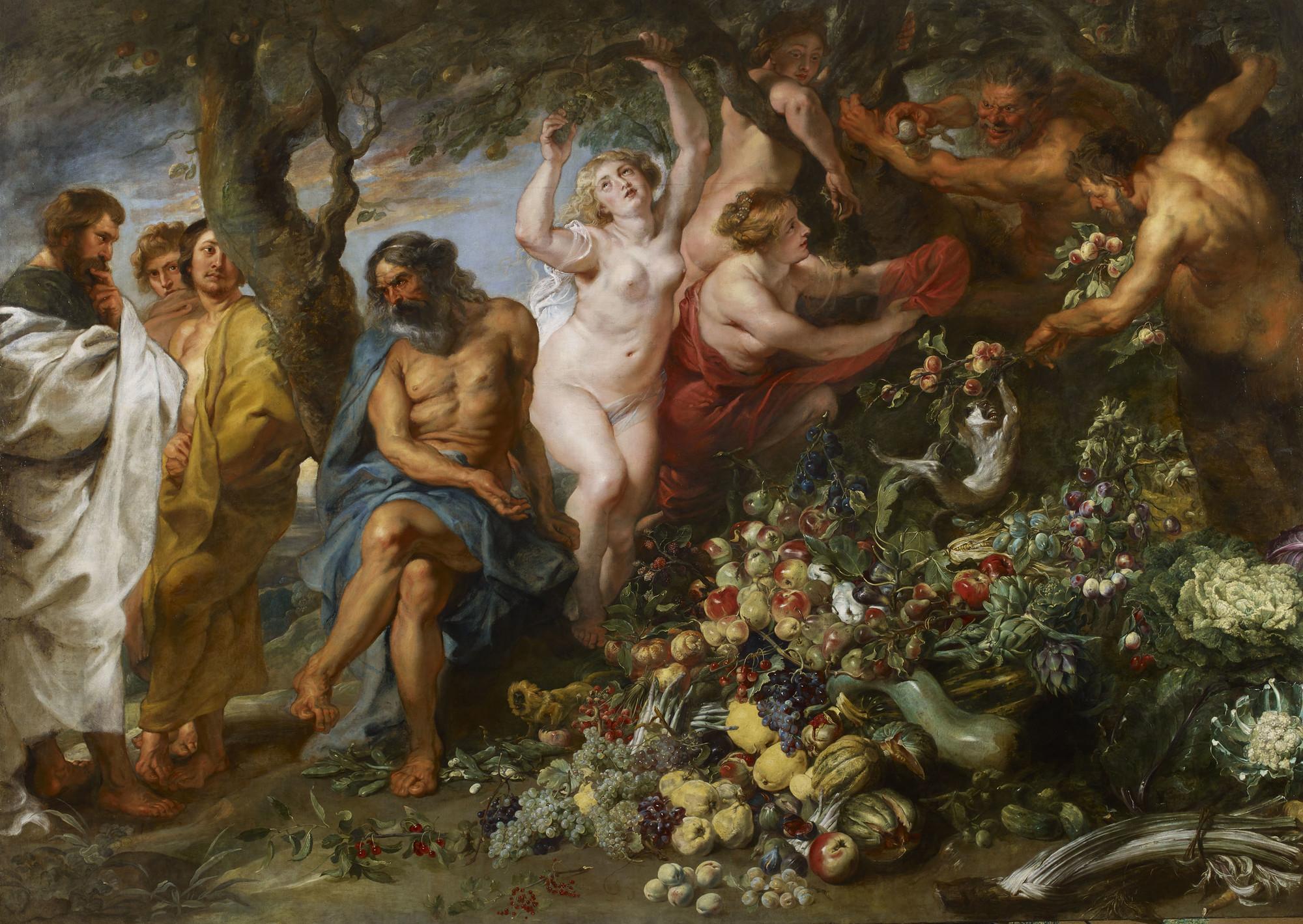 Rubens and Snyder Pythagoras advocating vegetarianism, owoce, dieta, wegetarianizm