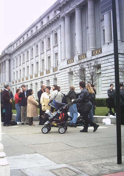 The line of same-sex couples applying for marriage licenses stretched for blocks around San Francisco's City Hall in February 2004. SF-City Hall Line SS-Marriage.JPG