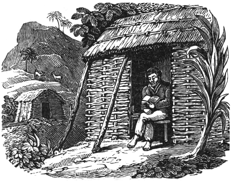 Engraving of Selkirk sitting in the doorway of a hut reading a Bible