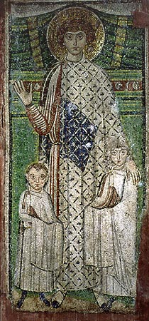 A pre-Iconoclastic depiction of St. Demetrios at the Hagios Demetrios Basilica in Thessaloniki. St George as patron of two children. Mosaic, church of St Demetrios in Thessaloniki.jpg