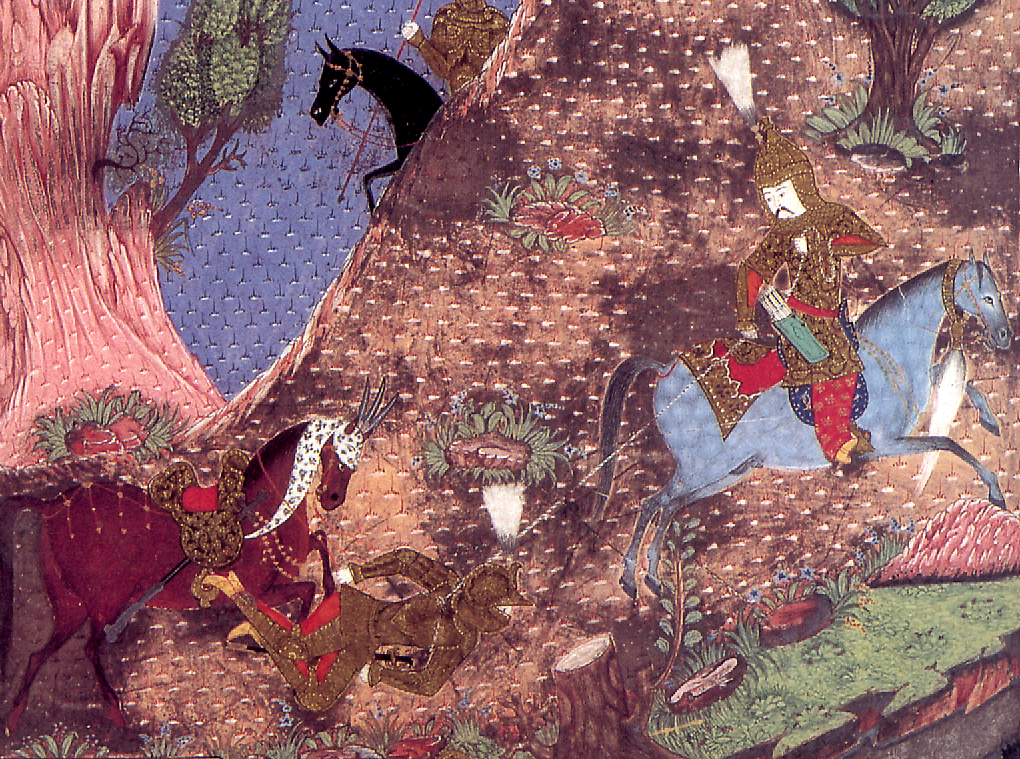 An akıncı (Ottoman frontier warrior) defeating a Hungarian knight. From a miniature in the Süleymanname (c. 1558).