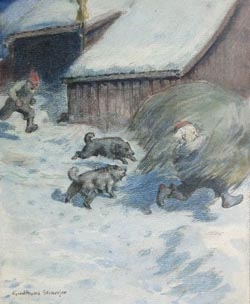 An illustration made by Gudmund Stenersen of an angry nisse stealing hay from a farmer