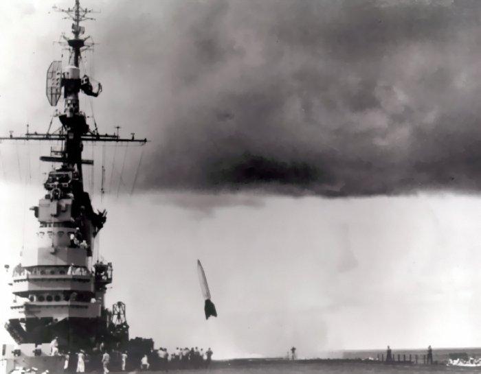 USS Midway (CVB-41) V-2 launch (Operation Sandy).jpg