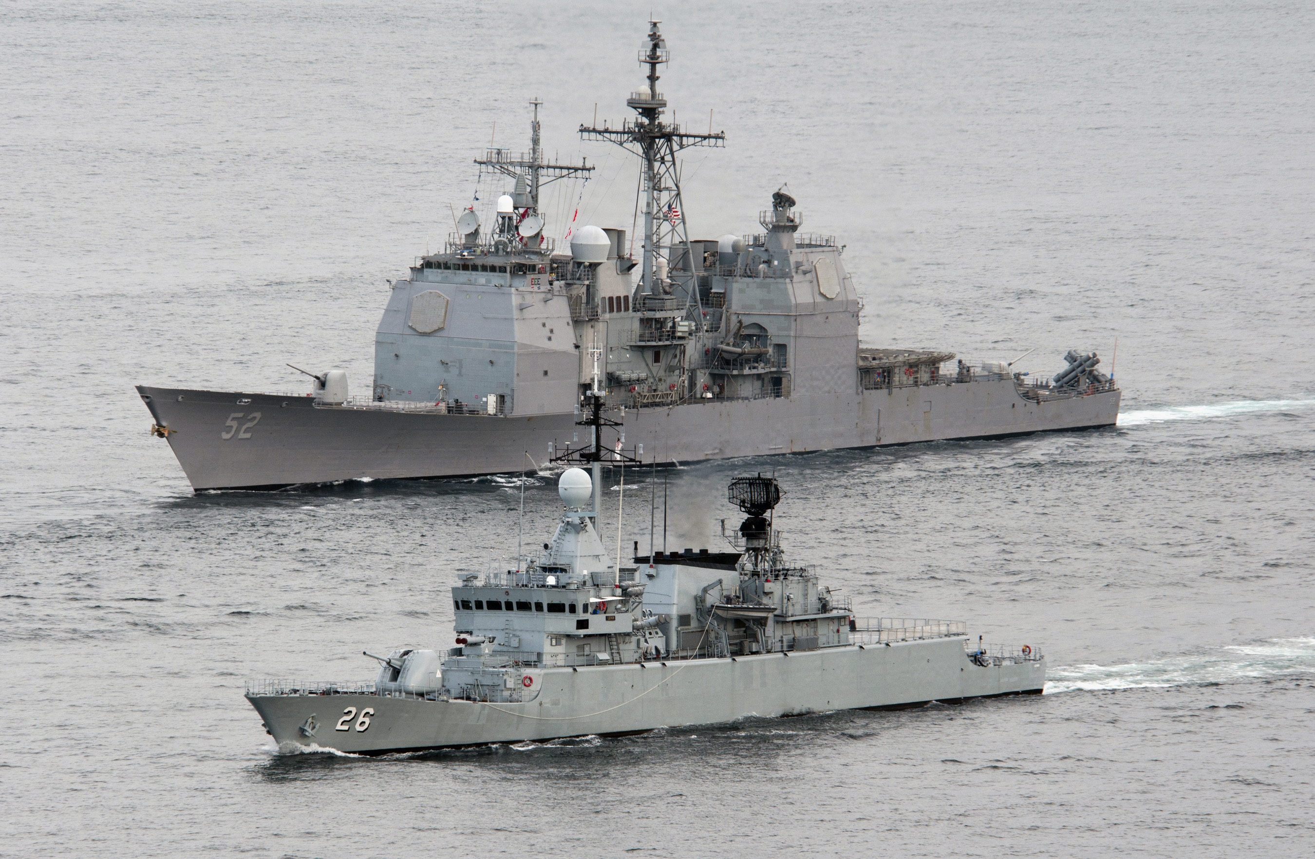 File:US Navy 110126-N-7981E-422 The Royal Malaysian Navy frigate KD Lekir (FF 26) leads the ...
