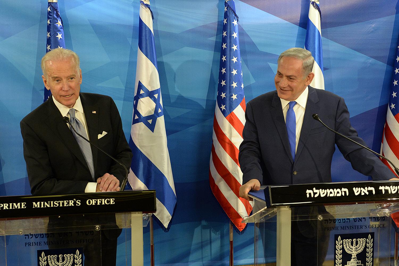 Biden with Israeli prime minister Benjamin Netanyahu in Jerusalem, March 9, 2016