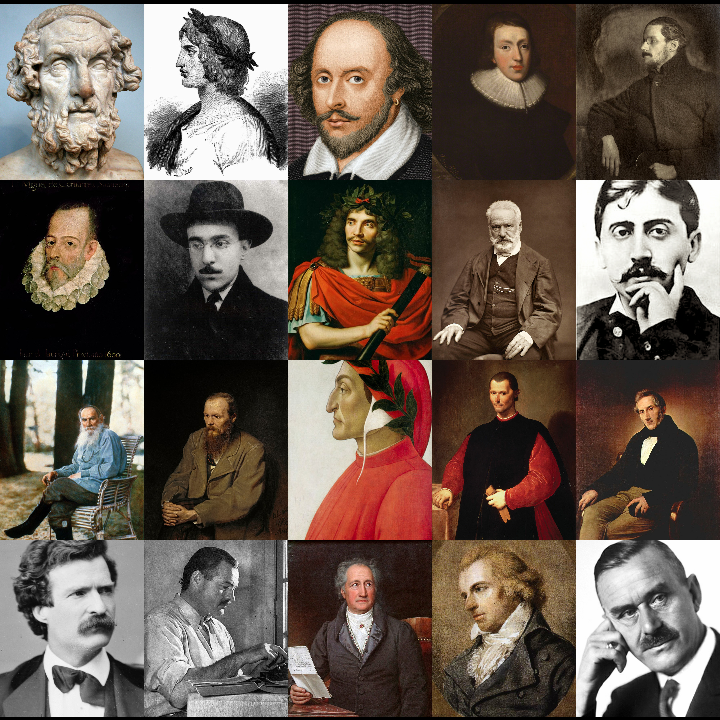 Top row: Homer, Virgil, William Shakespeare, John Milton, James Joyce Second row: Miguel de Cervantes, Fernando Pessoa, Moliere, Victor Hugo, Marcel Proust Third row: Leo Tolstoy, Fyodor Dostoyevsky, Dante Alighieri, Machiavelli, Alessandro Manzoni Bottom row: Mark Twain, Ernest Hemingway, Goethe, Friedrich Schiller, Thomas Mann Western Canon collage (literature).png