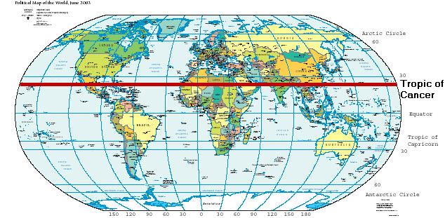FileWorldMapLongLatspeciallatsemphTropicofCancernonpng - Map of us tropic of cancer