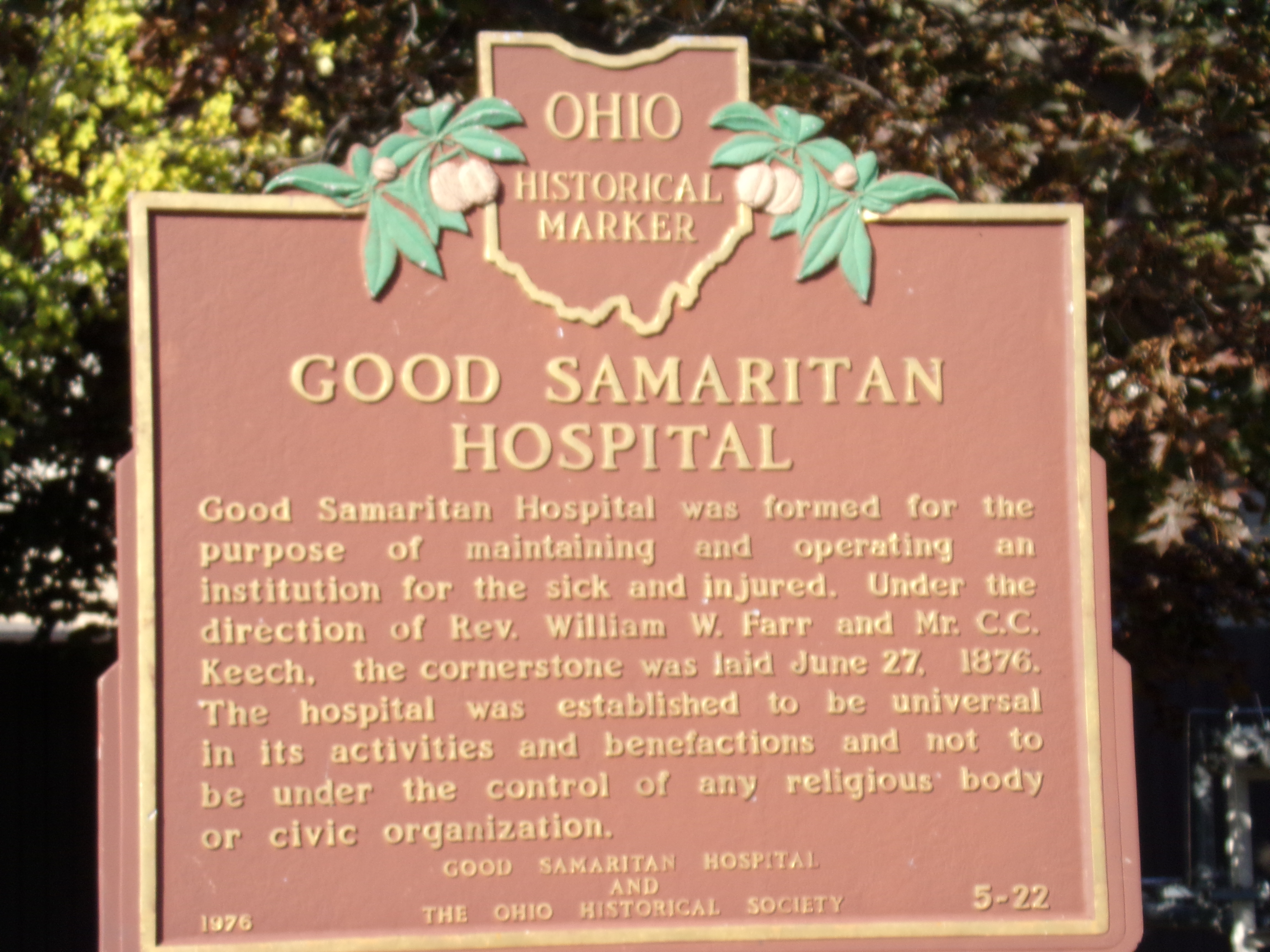 File 101 0477 Good Samaritan Hospital State Hist L Marker Sandusky