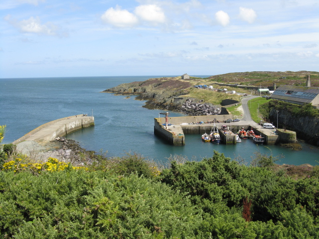 "Amlwch Port From The Headland This is the ""new"" harbour. The original is out of sight to the right."