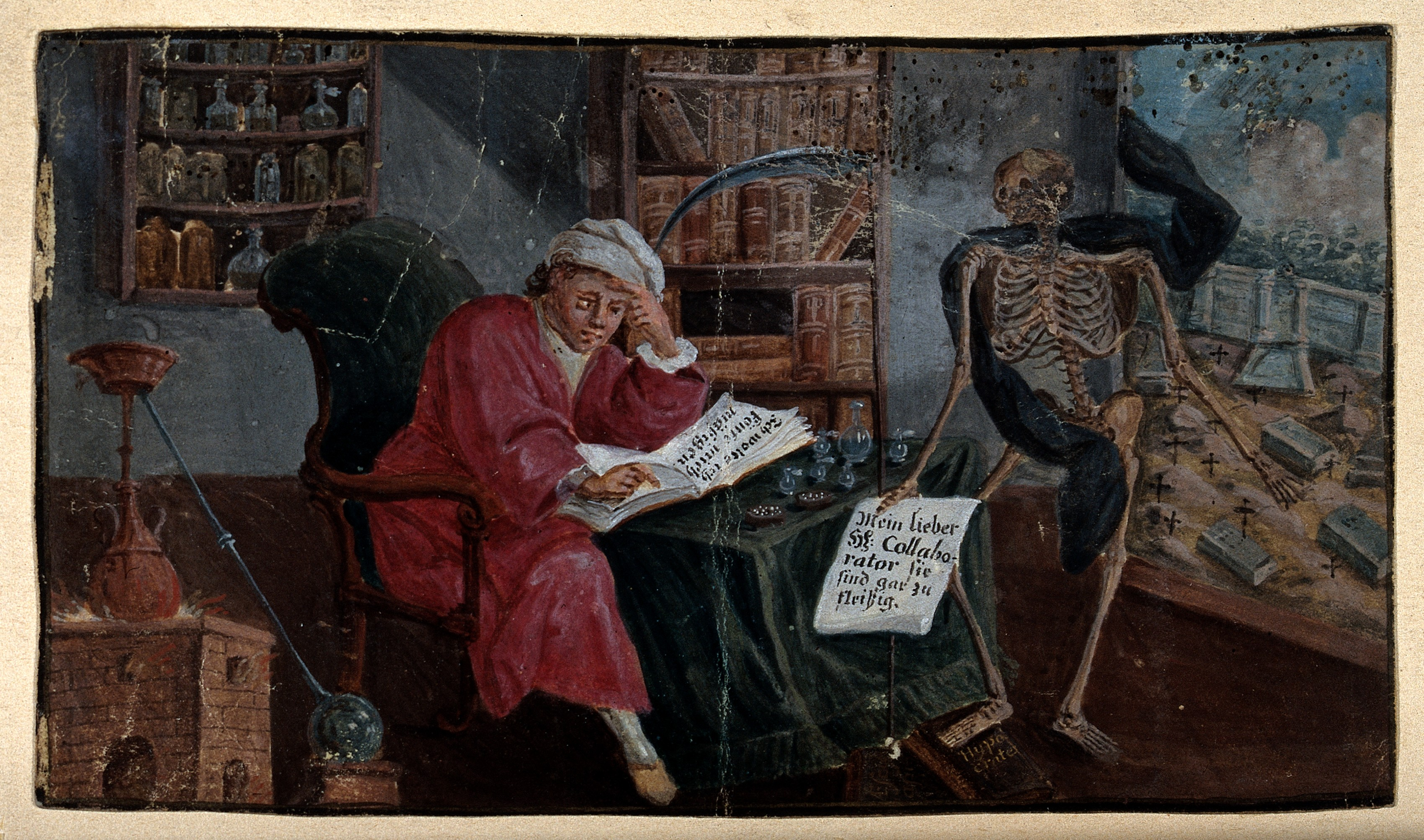 file an alchemist concentrates on a book in his study while deat file an alchemist concentrates on a book in his study while deat wellcome v0025607