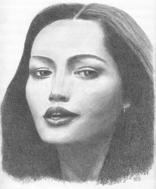 Disegno a grafite raffigurante Barbara Carrera ispirato ad un'immagine dal film L'isola del dottor Moreau. (autore: R.J. Hall)