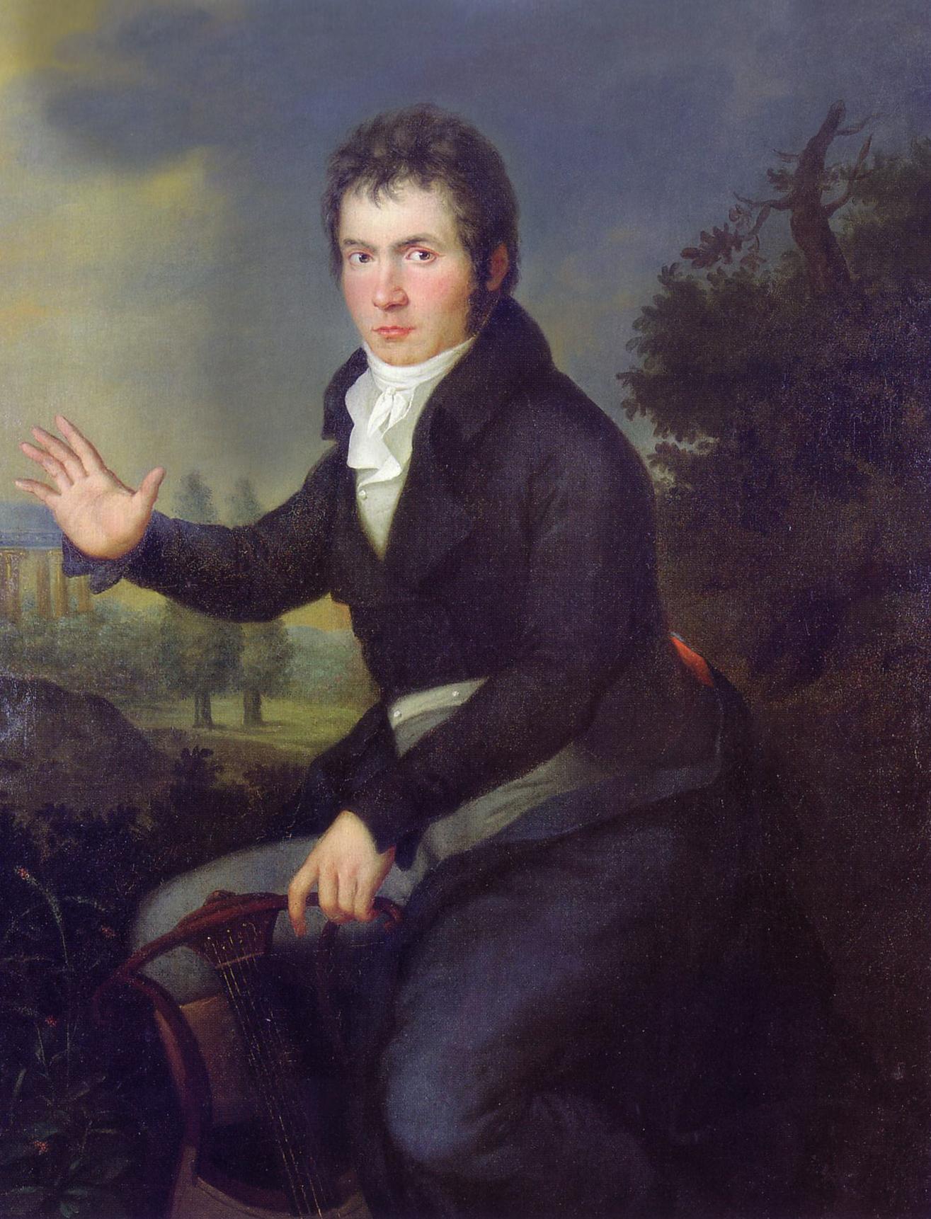 <em>Retrato de Beethoven</em> (hacia 1804), en la época de la <em>Sonata Appassionata</em> y de <em>Fidelio</em>. Decidido a «agarrar el destino por el cuello», compuso en el periodo de 1802 a 1812 una serie de obras brillantes y enérgicas características de su estilo «heroico».