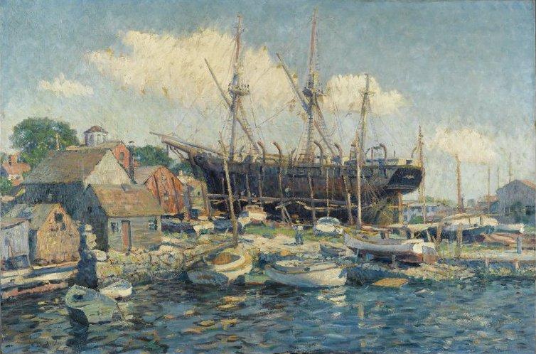 Questo quadro, dipinto da Ashley, rappresenta una baleniera. I viaggi delle baleniere potevano durare molti mesi.  È proprio su una nave del genere che Ashley fece il suo apprendistato di marinaio.