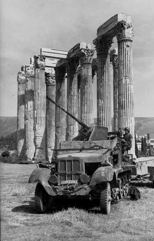 A half-track next to the Temple of Olympian Zeus