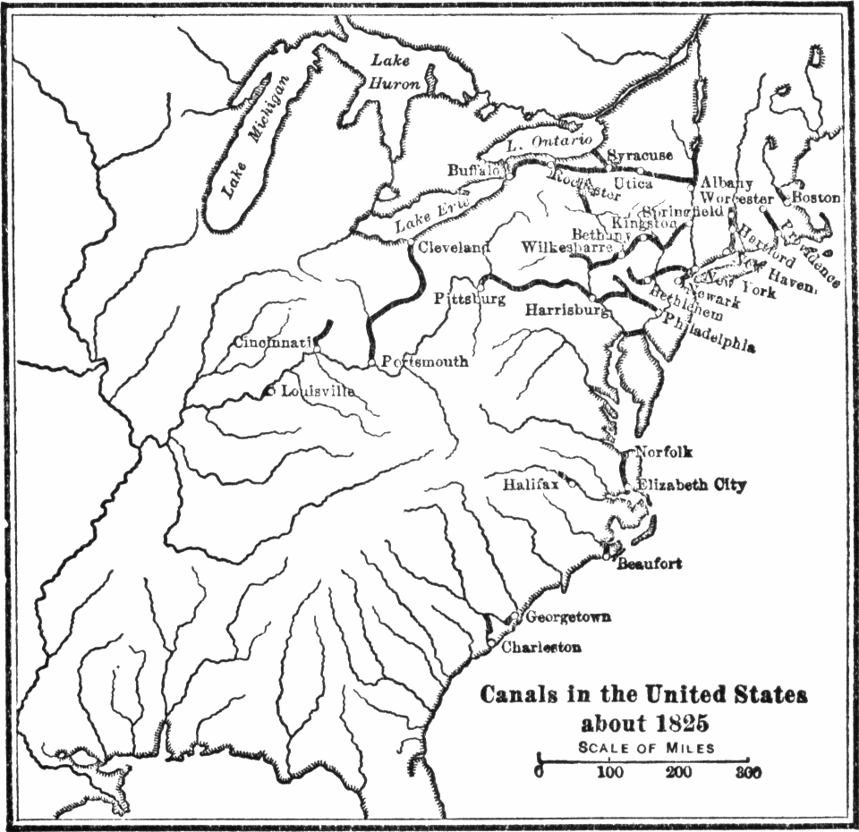 List Of Canals In The United States Wikipedia - Us in 1800 black and white map