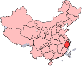 Zhejiang is highlighted on this map
